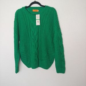 NWT One A Petite Green Chunky Knit Sweater Size PL